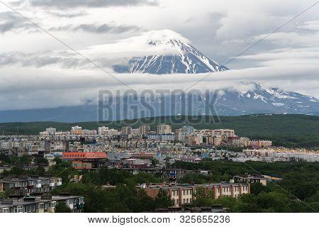 Summer City Scape Of Kamchatka Peninsula, Residential Building And Urban Development Of Petropavlovs