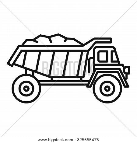 Coal Dump Truck Icon. Outline Coal Dump Truck Vector Icon For Web Design Isolated On White Backgroun