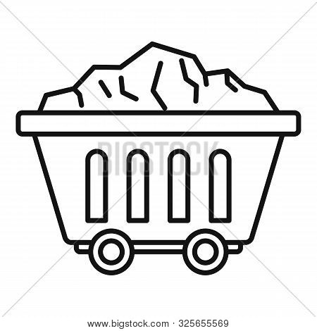 Mine Coal Wagon Icon. Outline Mine Coal Wagon Vector Icon For Web Design Isolated On White Backgroun