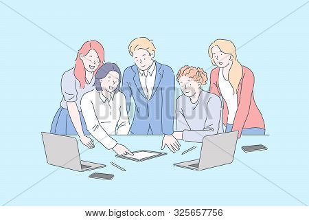 Positive Workplace Environment, Business Meeting Concept. Coworkers Discussing Company Project With