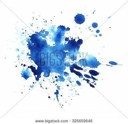 Abstract Graphic Element. The Splattered Spot Is Saturated With Blue Paint. Blot On A White Backgrou