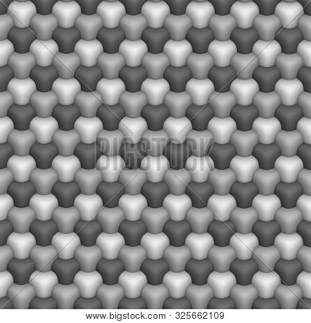 3D isometric seamless pattern. Geometric tileable background in grayscale.