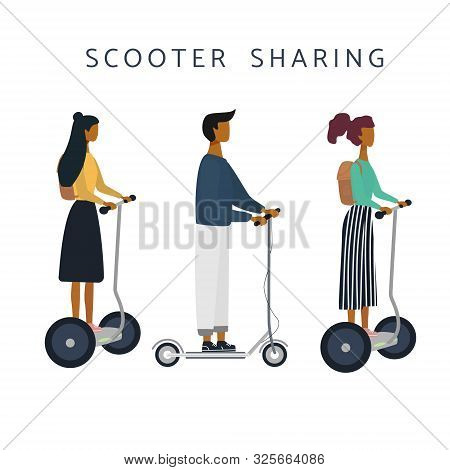 Scooter Sharing Or Rental Set. Women, Man On E-scooter Are Riding. Eco Transport. Flat Vector Illust