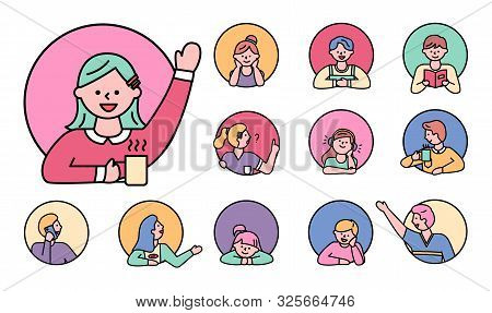 Character Kids In Window, Isolated Circles Set Line Pupils Female And Male Personages. Personage Rea