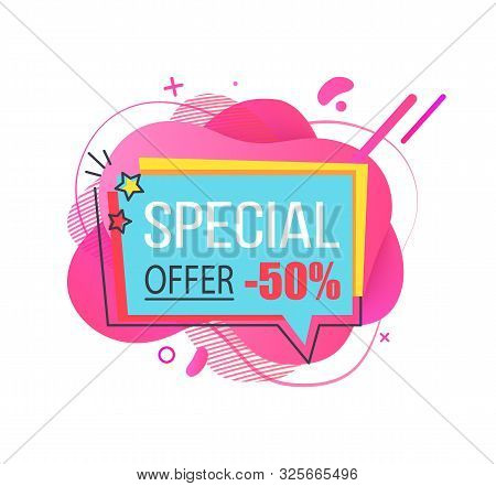 Banner With Price Reduction Vector, 50 Percent Reduced Cost On Goods Of Shop, Proposition Of Store,