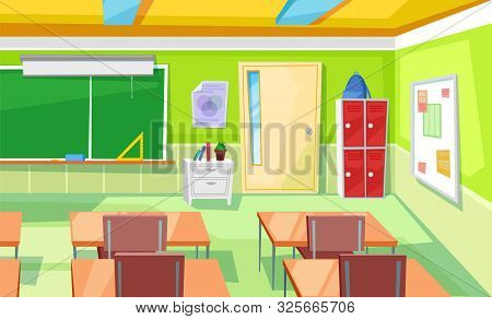 Lecture Hall Decorated By Chalkboard, Locker And Backpack, Desktop And Chair. Nobody Classroom, Educ