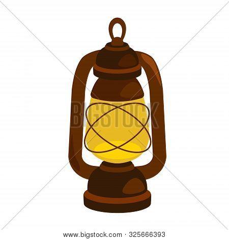 Kerosene Lamp. Vector Illustration Isolated On White Background.