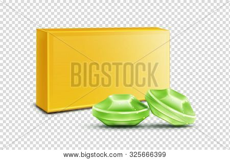 Throat Lozenge, Green Cough Drops Mock Up Isolated On Transparent Background. Sore Larynx Pain Remed