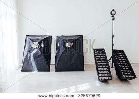 Photo Studio Equipment Flash Accessories Photographer On Background