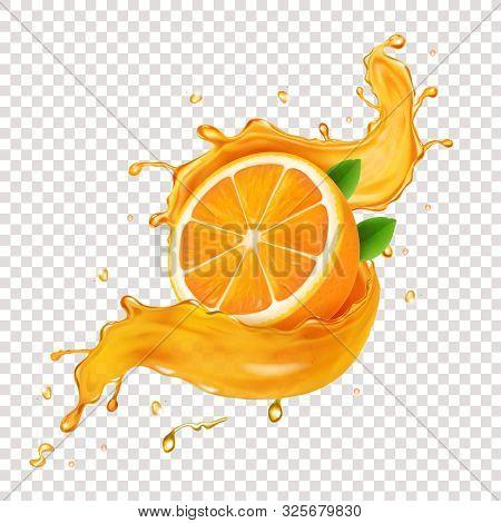 Juicy Orange Fruit In Realistic Orange Juice Splash