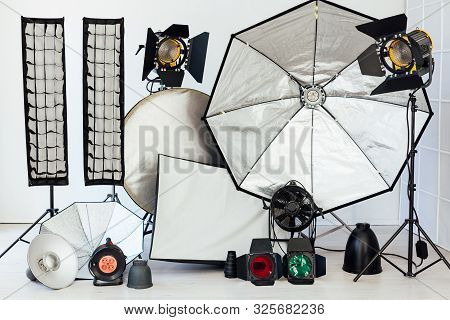 Photo Studio Equipment Flash Light Accessories Photographer On White Background