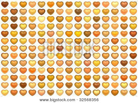 3D Collection Floating Love Heart In Multiple Orange On White