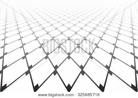 Abstract Geometric Pattern. Diminishing Perspective. Black Grid Latticed Texture On White Background