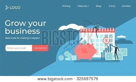 Payday Flat Tiny Persons Vector Illustration Landing Page Template Design. Shortterm Unsecured Loan