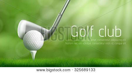 Golf Club Advertising Banner Template With Putter Under Ball On Tee Pushed Into Golf Course Green La