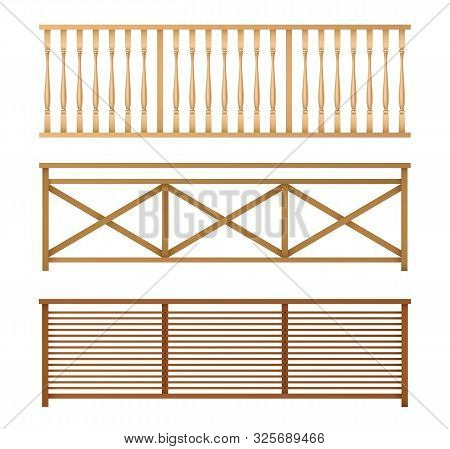 Wooden Fences, Handrail, Balustrade Sections With Rhombus And Grates Patterns Isolated, 3d Realistic