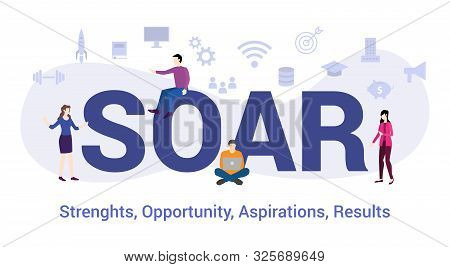 Soar Strengths Opportunity Aspirations Result Concept With Big Word Or Text And Team People With Mod
