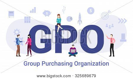Gpo Group Purchasing Organization Concept With Big Word Or Text And Team People With Modern Flat Sty