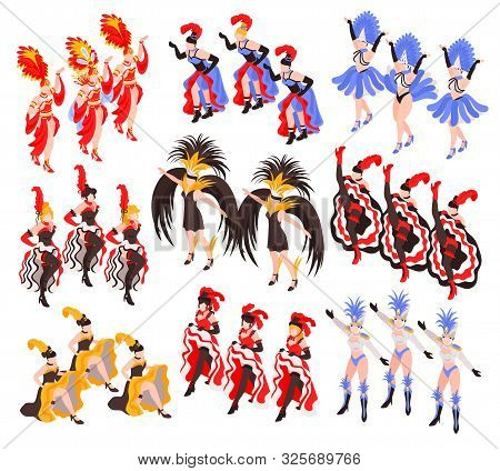 Cabaret Show Set Of Dancing Women Groups With Colorful Exotic Cancan Dress And Feathers  Isometric V