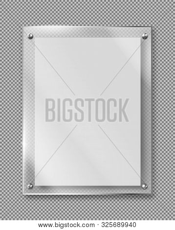 Blank Poster In Glass Frame Hanging On Wall 3d Realistic Vector Illustration Isolated On Transparent