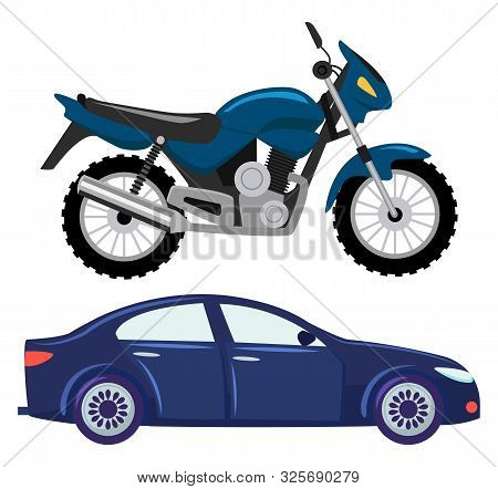 Sport Car Vector Isolated Transportation. Vehicle Transport Of Cool Modern Type And Shape. Motorbike