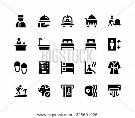 Simple Set Of Hotel Service Related Vector Glyph Icons. Contains Such Icons As Bellboy, Room Service