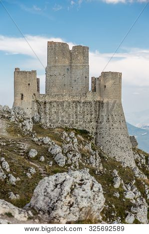 Rocca Calascio, old medieval castle on the Apennine mountains in the heart of Abruzzo, Italy poster