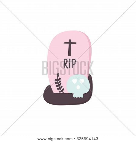 Gravestones Halloween Icon. Skull Ghost, Grave And Rip Text. Flat Style Cartoon Sign. Helloween Trad