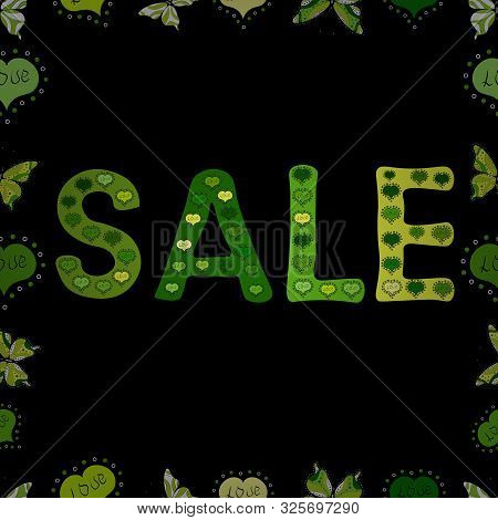 Sale Lettering In Yellow, Black And Green Colors. Vector. Collection With Style Backgrounds For Your