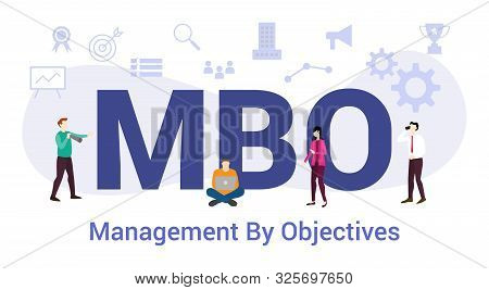 Mbo Management By Objectives Concept With Big Word Or Text And Team People With Modern Flat Style -