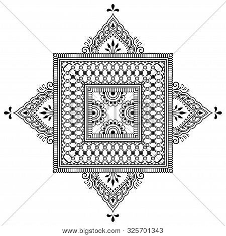 Circular Pattern In Form Of Mandala With Flower For Henna, Mehndi, Tattoo, Decoration. Decorative Or