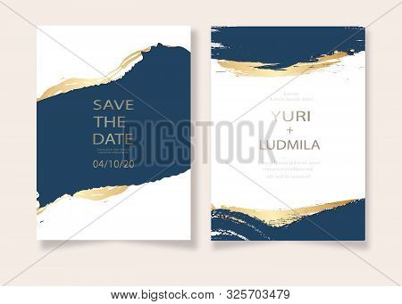 Invitation Cards With Luxurious Gold And Dark Blue Marble Background Texture And Abstract Ocean Styl