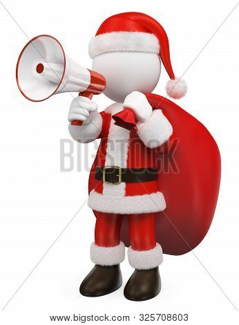 3d White People Illustration. Santa Claus Talking On A White And Red Megaphone. Isolated White Backg