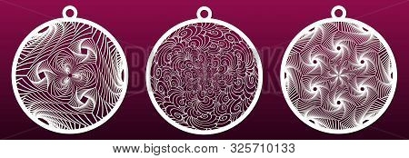 Decorative Christmas Balls, Set Of Templates For Laser Cutting. Abstract Pattern. Paper Art Or Metal