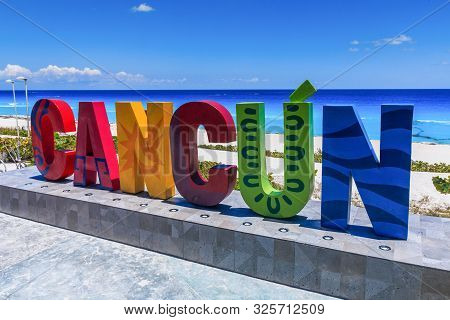 Cancun, Mexico - April 21, 2019: Dolphin Beach (playa Delfines). Resort Town Sign.