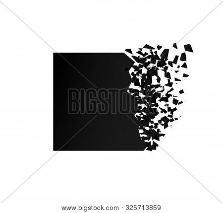 Exploding Square With Debris. Isolated Black Illustration
