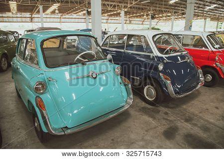 Nakhon Pathom, Thailand - August 3, 2019: Vintage Car Bmw Isetta 600 Exhibit At Vintage Car Collecto