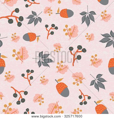 Scattered Fall Leaves Berries Acorn Seamless Vector Background. Abstract Fall Pattern Pink Orange Gr