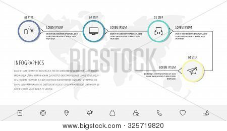 Modern Vector Infographic Flat Line Template Circles For Four Label, Diagram, Graph, Presentation. B