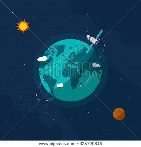 Earth In Outer Space Vector Illustration, Flat Cartoon Satellite Space Ship Flying Around Planet Wor