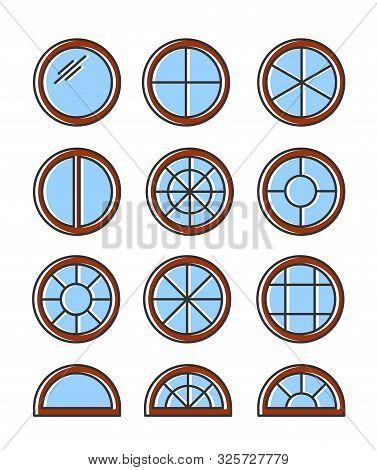 Round & Circle Wooden Window. Casement & Awning Window Frames. Flat Line Icon Set. Vector Illustrati