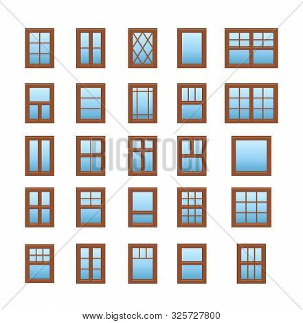 Casement & Awning Wooden Windows. Architecture Elements. Flat Icons Isolated On White Background. Tr