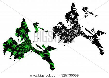 Calabarzon Region (regions And Provinces Of The Philippines) Map Is Designed Cannabis Leaf Green And