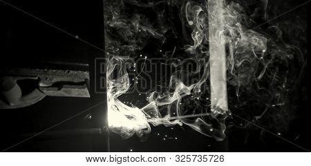 Welder Erecting Technical Steel. Industrial Steel Welder In Factory Technical .black And White Photo