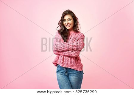 Happy Cheerful Young Woman, Looking At Camera With Joyful And Charming Smile. Brunette Girl With A P