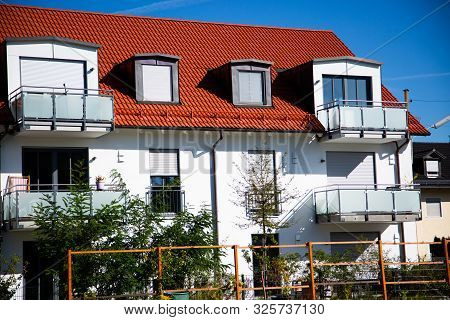 white semi-detached house in germany, housing, residential poster