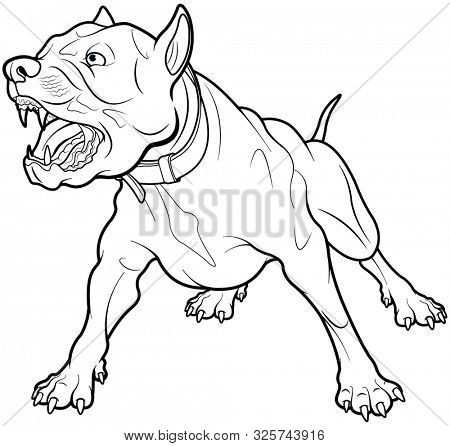 Illustration of barking dog. Coloring page