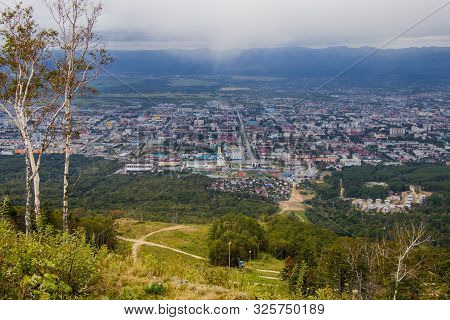 Yuzhno-sakhalinsk, Russia - August 30, 2019. Beautiful View From The Bolshevik Mountain To The City