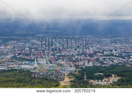 Yuzhno-sakhalinsk, Russia - August 30, 2019. Beautiful View From The Top Of Mount Bolshevik To The C