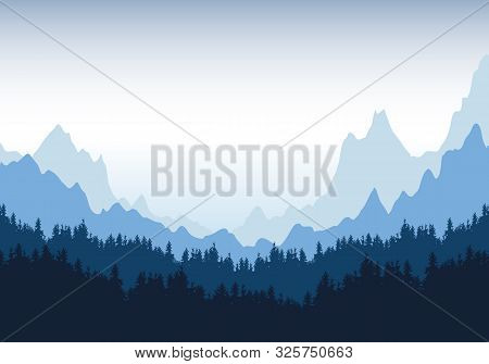 Realistic Illustration Of Mountain Landscape With Silhouettes Of Coniferous Trees And Forest Under B